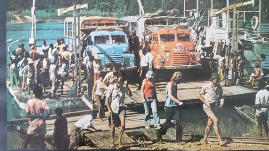 Calendar 1976:77 - Africa Trucks on ferry CAR