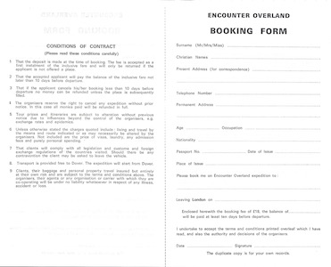 Icon Booking Form - 1969