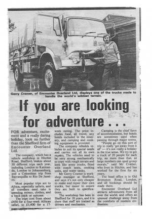 Icon 'If you are looking for adventure' article featuring Gerry Creamer and LLK183K (Biggleswade Chronicle 26 February 1982) copy