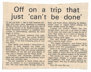 Icon Newspaper article regarding the first Trans-Africa Reconnaissance