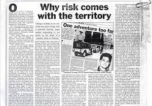 Icon 'Why risk comes with the territory' Sunday Times (UK) 6 August 1989