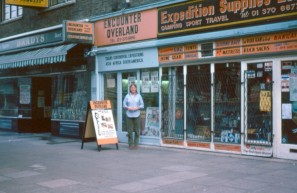Linda Banks at shop Old Brompton Rd circa 1980