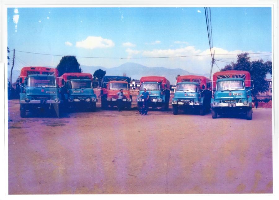 Trucks lined up Kathmandu (probably around 1986)