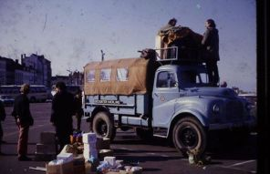 This was the start of Encounter Overland's first selection/training trip - to Iran, Spring, 1969 - led by Stuart Jenkins. The photo was taken at Dover. (YNK229F had just returned from a North Africa (Morocco, Algeria) trip led by Tony Wheldon and Johnathan Kickham.) Chris Marks on the far left.