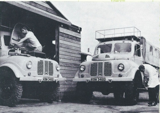 KBM346G being prepared for 18 June 1969 departure for Calcutta. (See Vaculug's International Review magazine (Autumn 1969) On the wheel brace is Peter Hobbs, Manager of Briggs National Tyre Service, Bedford