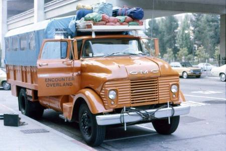 Y39839 - built in Los Angeles by Ray Wolfe, Chris Moore and Bruce Davidson (and others unknown) in late 1975 - ready to depart for Central/South America. This truck had a gasoline engine which proved to be unsuitable for South America.