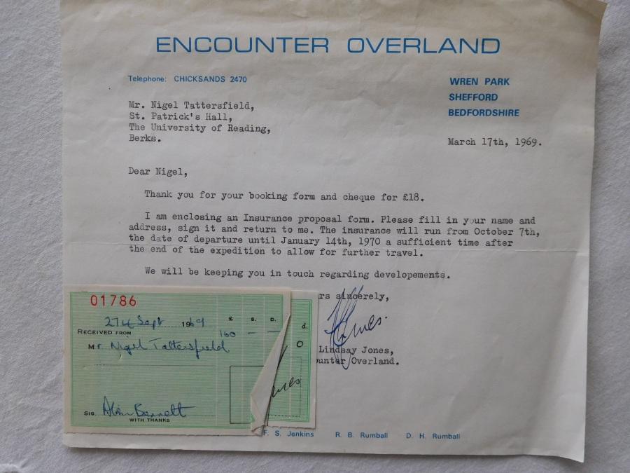 Receipt - London to Calcutta - 1969 (Nigel Tattersfield (EM))