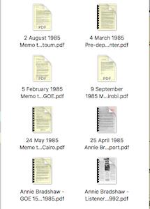 Icon Annie Bradshaw GOE documents