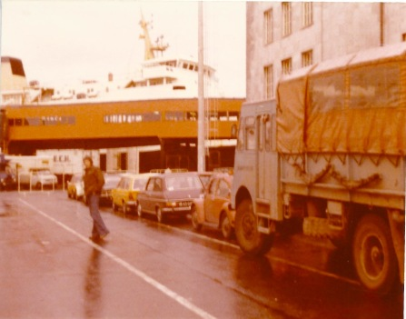 RXP586. Photo taken at Ostende waiting for ferry for the UK at end of a Kathmandu - London (24 August 1976 departure. Driver Phil Colbert (EM Christine Roberts)