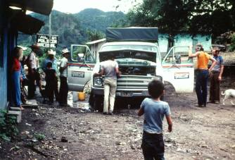 573ZQT In the 'Guatemala workshop' on its first trip. Workshop stops were necessary all the way to Panama because of slipping automtic transmission and many other ills.