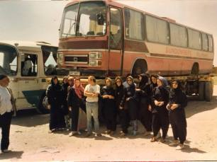 DRT680T - nicknamed the 'Pink Panther'. Driver on this trip was Steve Tester. The coach had to be transported across Iran from Pakistan to Turkey after it lost its air filter and suffered engine damage in the Baluchistan desert.
