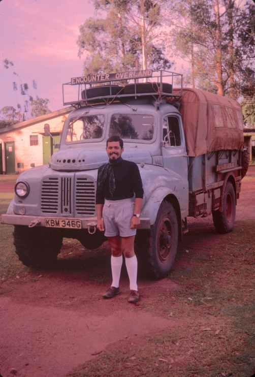 Encounter Overland's first Trans-Africa expedition - with Tony Jones (probably dressed up for an embassy visit!)