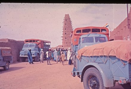 PMJ308J at Agadez (Alison Bennet) -- Three Bedford RLs departed London on an Africa Southbound in November 1970. (The Land Rover on the left was not part of the expedition. It was simply coincidence it had a similar colour scheme to the Encounter Overland trucks.)