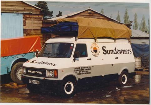 The Sundowners supply vehicle based at Wren Park. It was used to ferry the camping gear and supplies to Holland for the Chinese Charters about 1991/92.