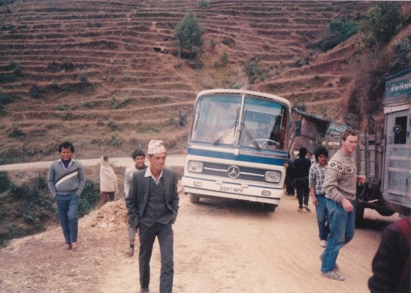 Q397NPP (Martin Blackgrove) - on Raj Path, Nepal 1987 (James Hill on right)