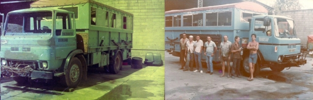 WBH648S - before and after shots of rebuild, Aug/Sep 1984 in Rio de Janeiro, before leaving on a South America Circle expedition with Leader/Driver Bruce Watkins and Chris Robinson (trainee)
